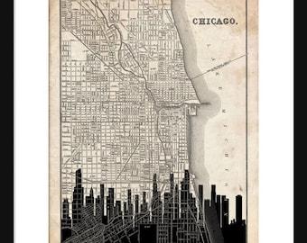 Chicago Map - Chicago Skyline - Print Poster - Vintage - Grunge