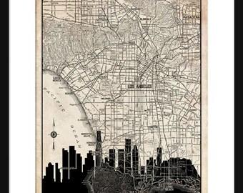 Los Angeles  Map -  Los Angeles Skyline - Print Poster - Vintage - Grunge