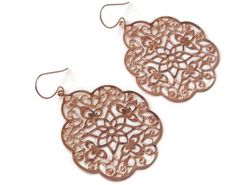 Rose gold earrings Rose gold dangle earrings Rose gold drop earrings Rose gold bridal earrings Rose gold Filigree earrings Wedding earrings