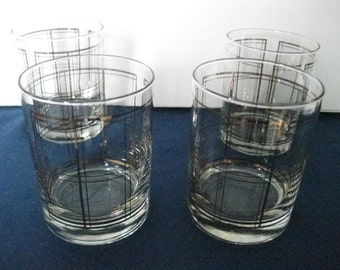 Vintage Mid Century Georges Briard Mad Men Striped Lowball Double Rocks Glasses Set of 4-#ER