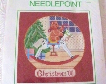 "Sunset Needlepoint Kit ""Teddy's Christmas Eve"" Brand New Vintage Sealed"