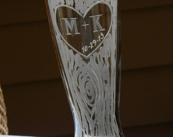 One Single Rustic Personalized Pilsner Glass with Carved Tree, Heart, Initials and Date