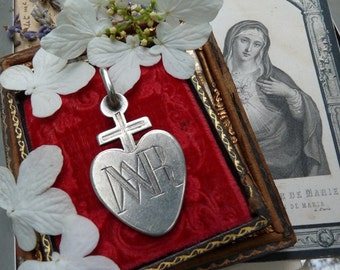 SALE:  Antique French Nun Cross, Rare Talisman for the Passionate, Order of the Sacred Heart, offered by RusticGypsyCreations