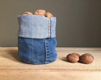 one mini container - denim - shelf storage - fabric basket - fabric storage box - gift basket