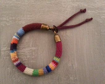Multicolored Bangle, Striped Crochet Tube Colorful Bracelet, Adjustable Bracelet Jersey Strap Closure