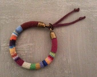 Multicolored Bangle, Striped Crochet Tube Colorful Bracelet, Adjustable Bracelet Jersey Strap Closure