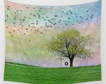 Wall Tapestry Wall Hanging Wall Art Spring Summer Tree Tire Swing