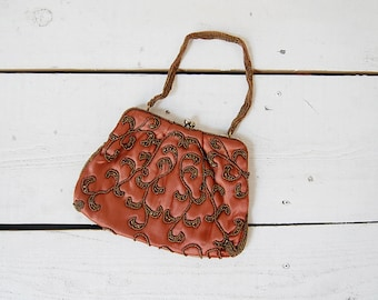 vintage 1950s purse / beaded silk purse / 50s beaded bag / Coral Ivy purse