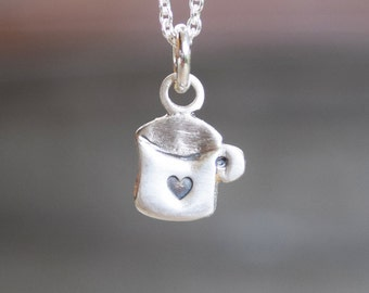 Cup of coffee necklace with heart, Sterling silver- gift for the coffee lover coffee addict - I love coffee - gift for girlfriend