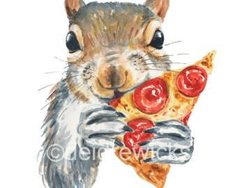 Squirrel Watercolor - Fine Art Print, Squirrel Print, Pizza Painting, Kitchen Art, Nursery Decor, Squirrel Lover Gift