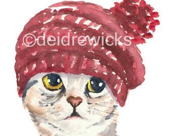 5x7 Cat Watercolor Print - Silver Tabby Cat, Knit Hat, Cat Illustration, Nursery Art
