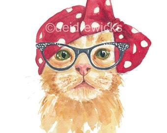 Cat Watercolor - 5x7 PRINT, Orange Tabby Illustration, Retro Cat, Open Edition, Cat in Glasses