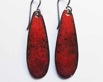 Red enamel drop earrings Colorful niobium dangles Red / black teardrop earrings Hypoallergenic jewelry Gift for her