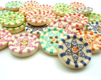 30 x Star Pattern Buttons - Wooden Buttons - 4 Hole Sewing Buttons - 20mm -
