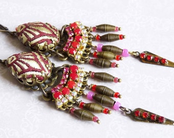 red drop india dangle earrings with silk brocade and rhinestone