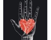 Valentine's Day Print - Vintage Palmistry Heart Poster. Black and white Mystical fortune teller palm reader vintage circus mystics - CP410V