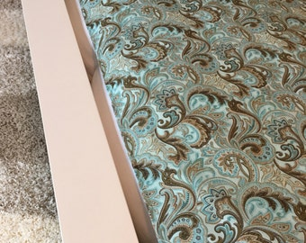 Bed Runner | Bed Scarf | Queen Bed | Twin Bed | King Bed | Pillow Cover Sham | Paisley | Blue | Teal Shabby Chic | Tiffany's | Aqua Brown