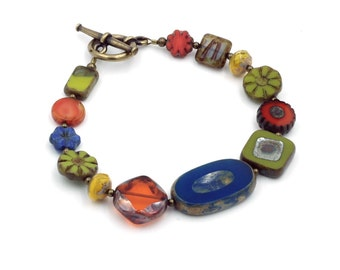 Blue, Orange and Chartreuse Czech Glass Bead Bracelet