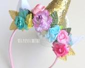 Unicorn Headband Floral and Glitter Crown Costume Halloween