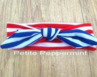 Red White Blue baby headband, baby head band bow, patriotic headband, toddler bow headband, girl headband, fourth of july baby head wrap