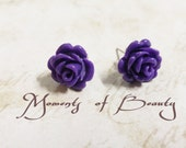 Rose Earrings Flower Earrings Stud Earrings Post Earrings Purple Rose Earrings Wholesale Earrings Purple Earrings Flower Earrings