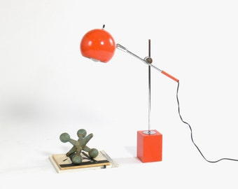 Vintage Mod Ball Arm Arteluce Kovacs Style Table Lamp // Side Lamp