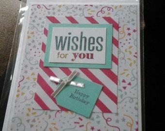 White confetti string birthday card-free shipping