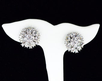 Trifari Rhinestone Earrings - Stacked Clear Rhinestones - Silvertone Setting - Rhinestone Flower - Button Style Clip ons - Vintage 1950 1960