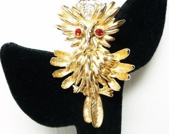 Vintage Owl Brooch - Rhinestone Bird Brooch - Figural Design with Clear and Red Rhinestones