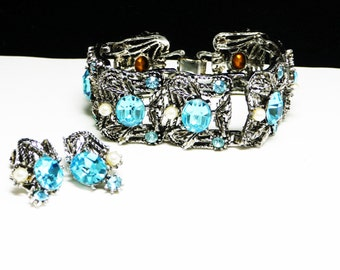 Turquoise Rhinestone Bracelet Earring Set - Wide linky Bracelet and Clip on Earrings with Rhinestone and Pearls - Vintage Costume Jewelry