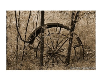 Fine Art Sepia Photography of the Waterwheel From an Abandoned Mill in the Forest