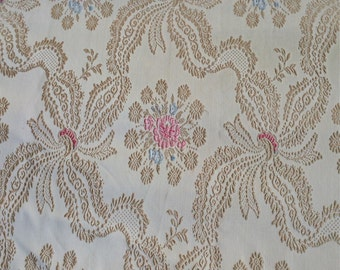 Vintage BedSpread  Ribbon Swirl and Floral Pattern Shabby Chic Spread Vintage Bedding Fringed Spread Tan Gold, Pink and Blue Vintage Bedding