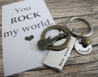 Boyfriend Gift | Valentines Gift For Him | you rock my world | Husband Gift | Anniversary GIfts | Valentines Gift Custom Keychain