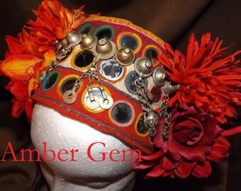 Tribal Fusion ATS Belly Dance Headpiece, Amber Gem