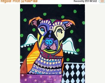 Marked Down 50% - Pit bull Angel - Pitbull Dog Art  Art Print Poster by Heather Galler by Heather Galler (HG758)
