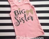 Big sister tank top girls big sister shirt pregnancy announcement shirt big sister announcement shirt tank top glitter top Big Sister Girls