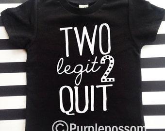 Two Legit 2 Quit kids birthday shirt hipster kids birthday shirt 2nd birthday shirt two cool birthday shirt 2nd birthday boy girl birthday