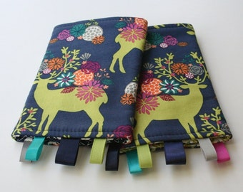 Reversible Baby Carrier Suck/Drool Pads - Yes, Deer/Leaf Press (Fits Kinderpack, Ergo, Beco, Mei Tai, Tula, and other SSCs) - Ready to Ship