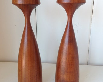 Pair of Danish modern teak candleholders