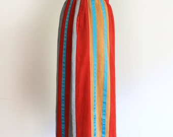 Suede soft skirt striped vintage designer Isabel Lami New York size 6, XS/S
