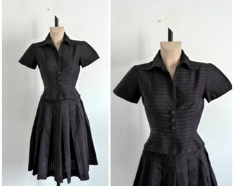 Black Two-Piece Skirt and Blouse / Mary-Angelica Rio / Vintage 1950's