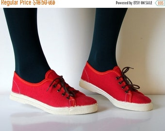 50% OFF Vintage USSR red canvas sneakers from Soviet Union, 1988, size XS