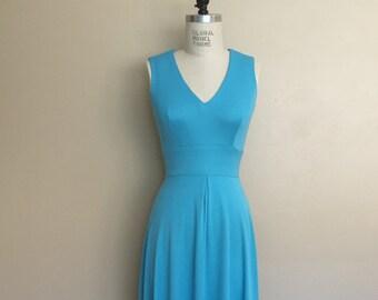 Vintage 1970s Teal Disco Era Maxi Dress / Vintage Blue Jersey Dress with Balero Jacket