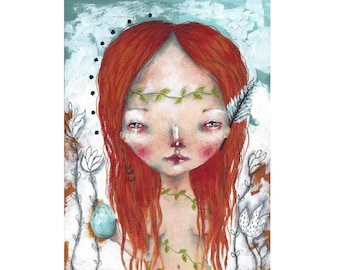 folk art Original girl painting  mixed media art painting on wood canvas 8x6 inches - She holds nature in her heart