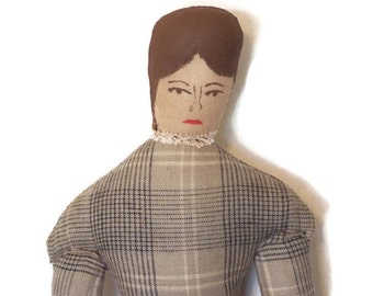 Primitive Folk Art Country Cloth Doll, Collectible Home Decor, Vintage Inspired, Ragdoll, Farmhouse, Brown, Gray, Muslin