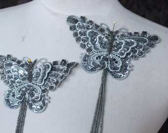 Cute beaded  butterfly applique grey color 1 piece listing