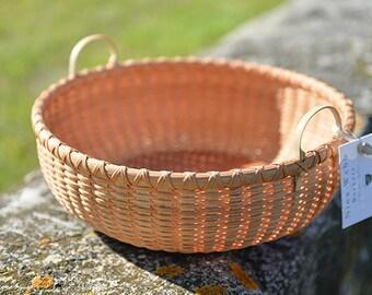"13"" Round Tray Hybrid Shaker Style/Nantucket Lightship basket Nina Webb Basket Handwoven Rattan"