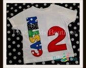 2nd Birthday shirt, cake smash boy, name appliqued, personalized kids clothes