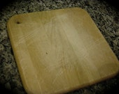 Vintage Wood Cutting Board Primitive Square with Hole for Hanging