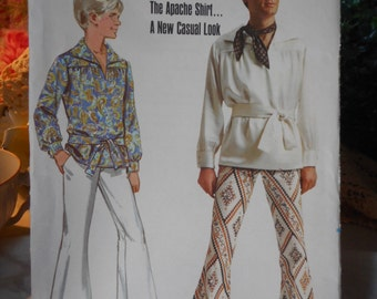 "Vintage boys Pattern ""The Apache Shirt"" a new Casual Look by Butterick c1970s size Large"
